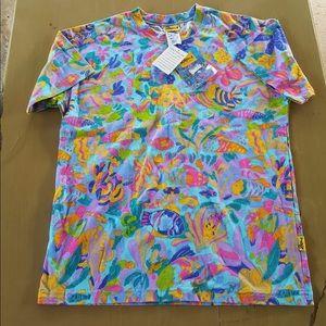 VTG 80's Colorful Fish Print Tshirt-NWT-Rare- XS/S